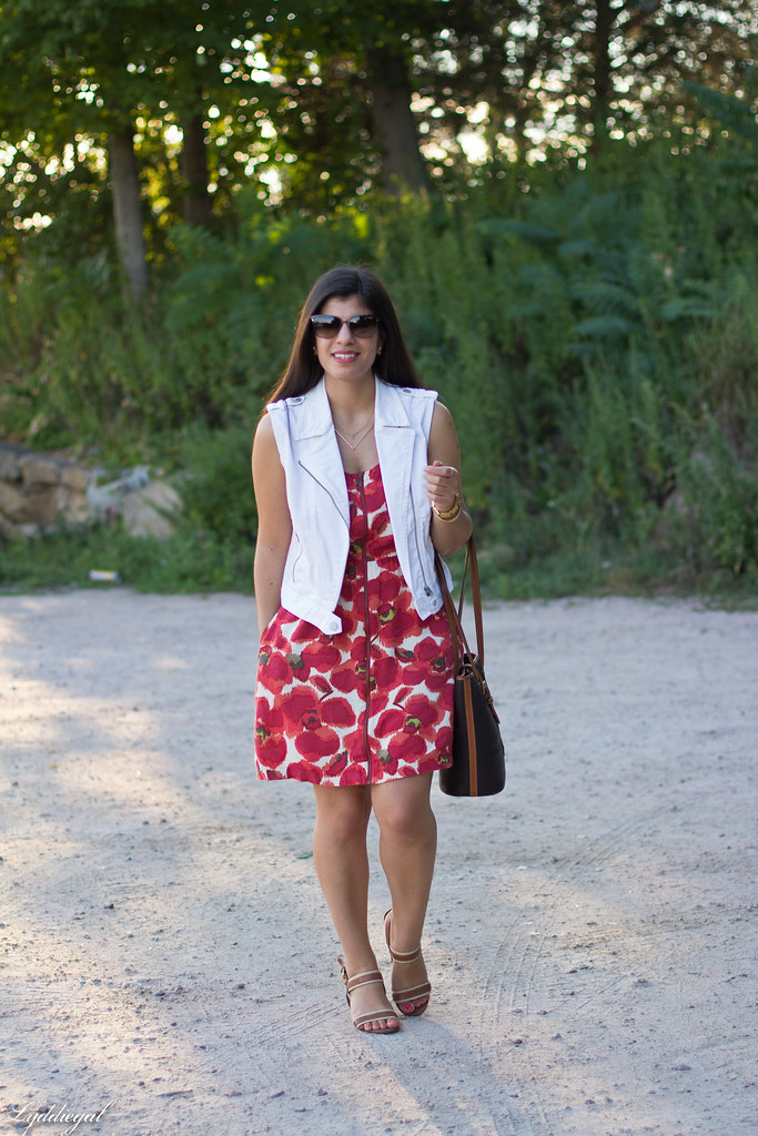 poppy print dress, white denim vest, dooney burke tote-2.jpg