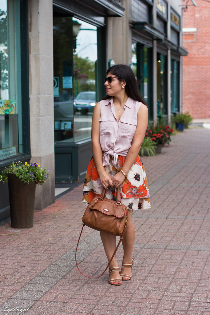 floral skirt, knotted button down, brown bag-1.jpg