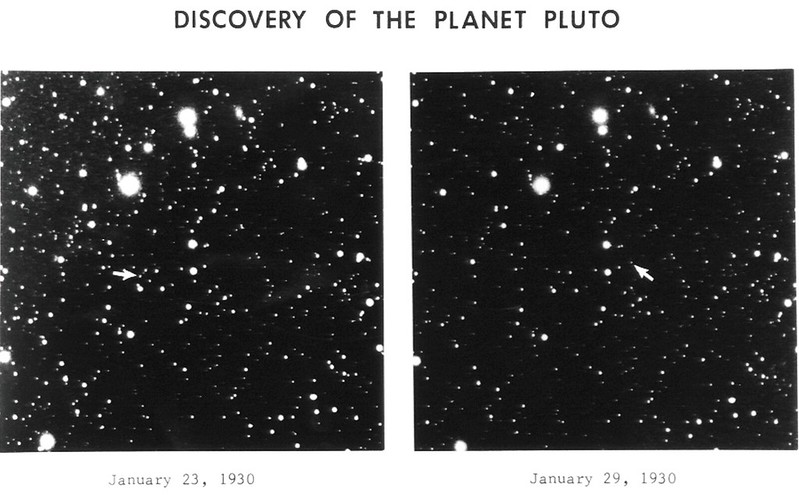 The photographic plates that were used to discover Pluto, pointed by arrow