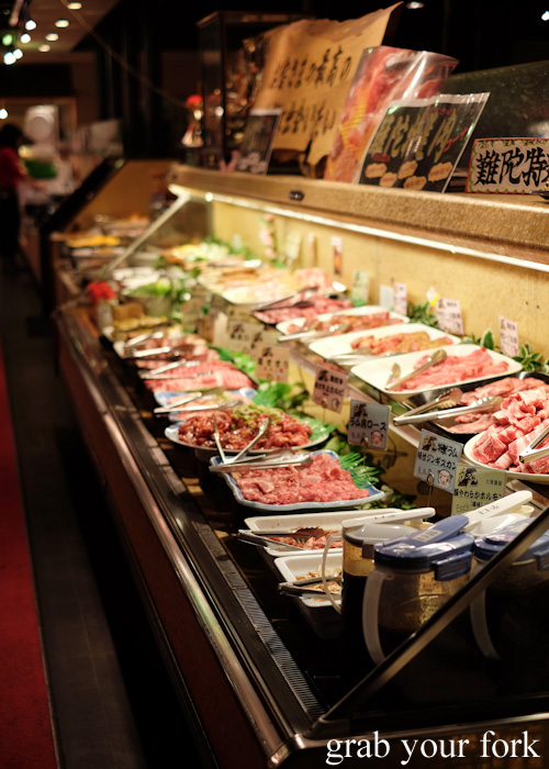 Raw meat station at Nanda all-you-can-eat buffet in Sapporo