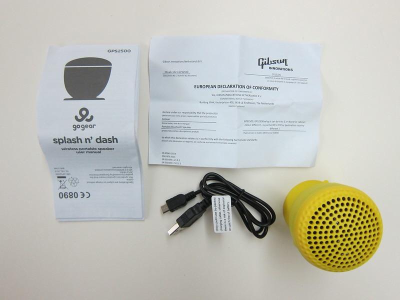 GoGear Splash n Dash Bluetooth Speaker - Box Contents