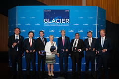 From left to right, Dutch Foreign Minister Bert Koenders, South Korean Foreign Minister Yun Byung-se, Danish Foreign Minister Kristian Jensen, Swedish Foreign Minister Margot Wallstrom, U.S. Secretary of State John Kerry, Finnish Deputy Prime Minister and Foreign Minister Timo Soini, Icelandic Foreign Minister Gunnar Sveinsson, and Norwegian Foreign Minister Børge Brende pose for a family photo at a welcoming reception for the Global Leadership in the Arctic: Cooperation, Innovation, Engagement, and Resilience (GLACIER) Conference, at the Anchorage Museum, in Anchorage, Alaska, on August 30, 2015. [State Department Photo / Public Domain]
