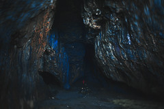 ice cave(0.0), formation(0.0), caving(0.0), lava tube(1.0), cave(1.0), darkness(1.0), blue(1.0),