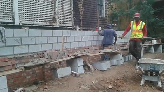 Myers & Heard Masonry  Contractors in Atlanta installing a bricks and blocks addition in downtown Atlanta, Georgia. Call Jeff Myers today for your free affordable estimate at 678-866-5281.