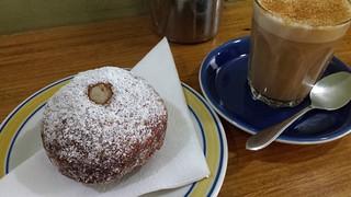 Lemon curd doughnut and chai from Crumbs