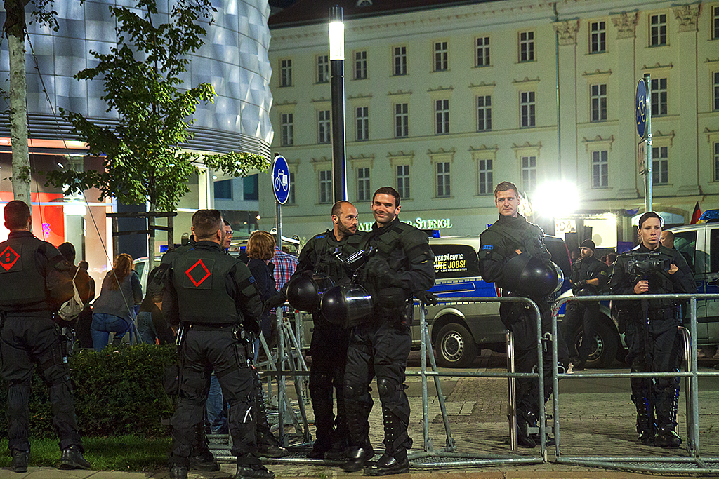 Police at a LEGIDA rally on 10-5-15--Leipzig