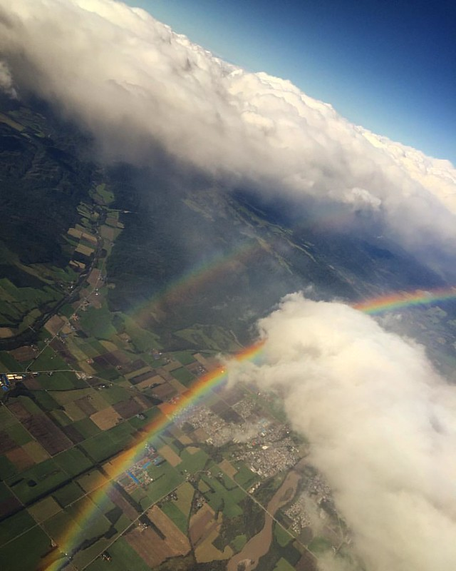So this is how twin rainbows look like from 10,000 feet! Absolutely amazing. Hokkaido, why you being such a flirt??😍🎌🌻🌈 #coolHokkaido #exploreHokkaido #experienceHokkaido #enjoyHokkaido #Hokkaido #hida #philculta