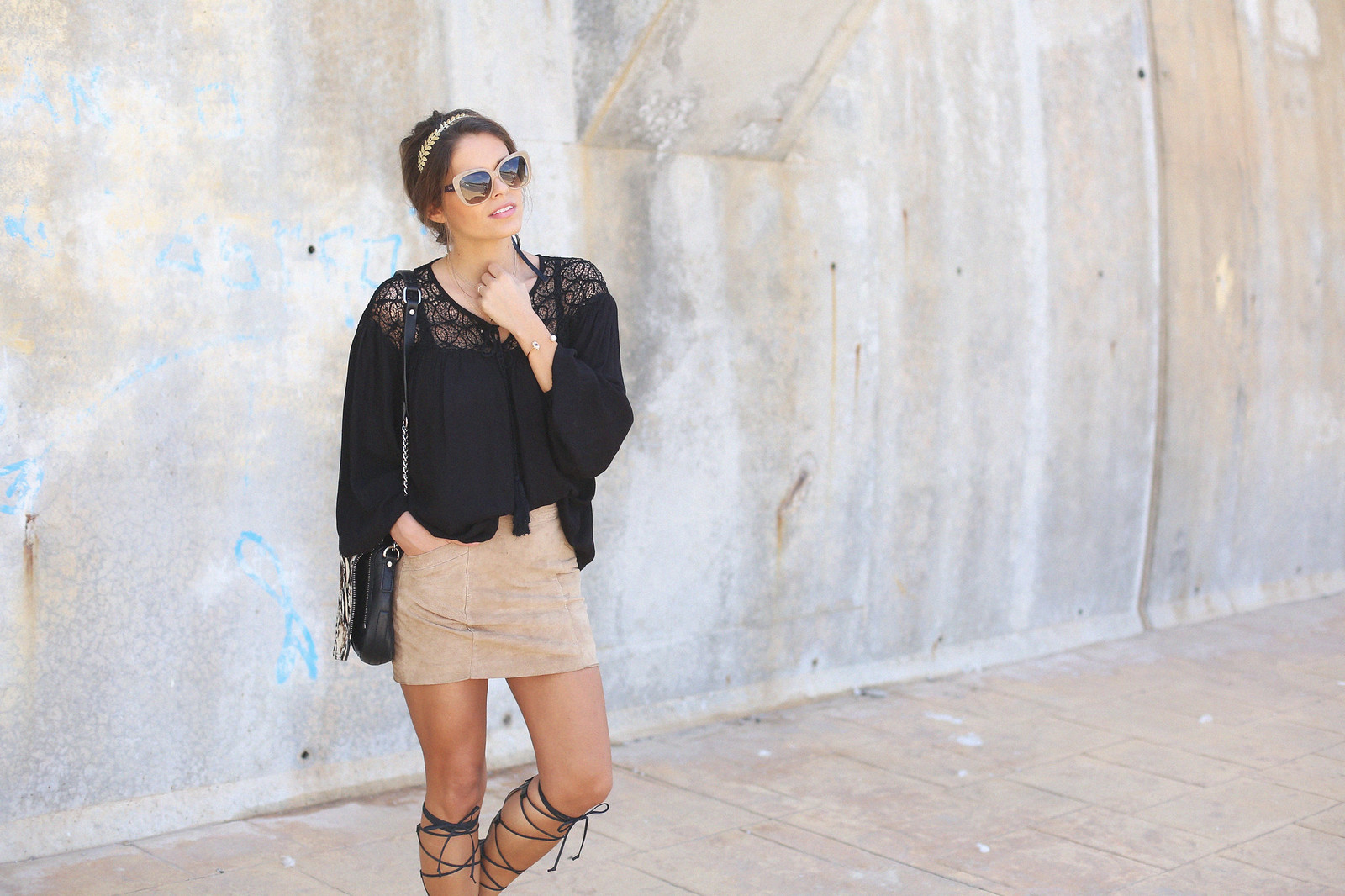 4.black boho top camel suede skirt gladiator sandals golden headband seams for a desire jessie chanes