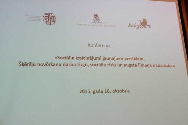 """Konference """"Sociālie izaicinājumi jaunajiem vecākiem. Šķēršļu novēršana darba tirgū, sociālie riski un augsta līmeņa nabadzība""""."""