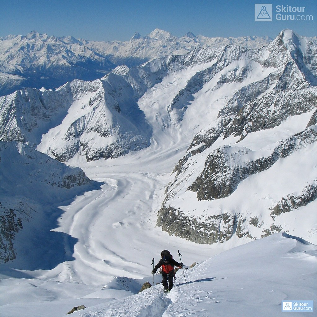 Grosser Aletschhorn 4198 m, Oberaletschhütte, Berner Alpen, Wallis, Switzerland, http://skitourguru.com/tura/8-gross-aletschhorn