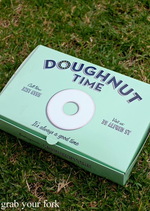Six pack donut box at Doughnut Time at Central Park, Chippendale