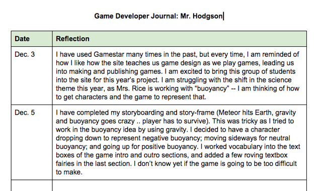 Mr H Game Developer Journal