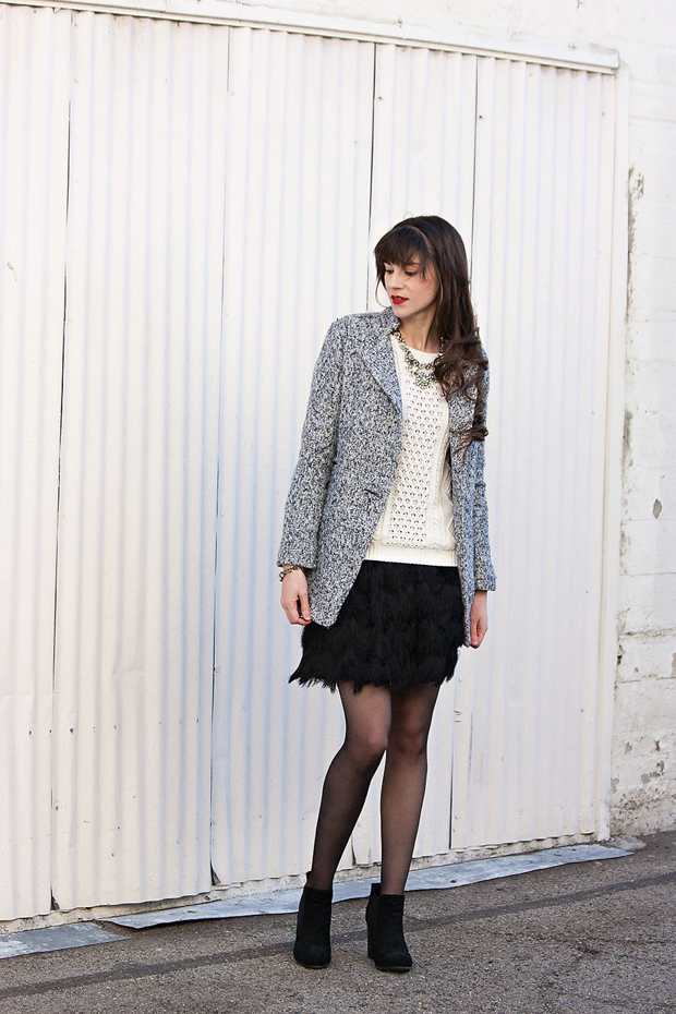 Banana Republic Feather Skirt, Tweed Jacket, Gap Cable Knit Sweater