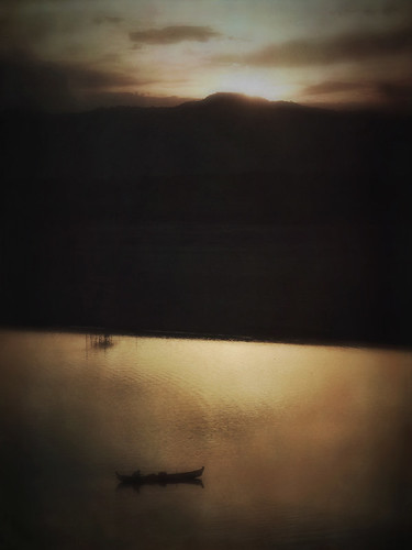 Bagan sunset with boat in Stackables formula 'Soft Blur'