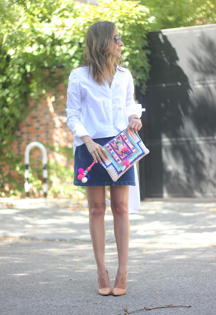 Long Shirt With Denim Skirt Summer Outfit 13