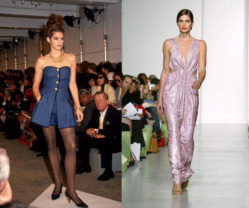 CINDY CRAWFORD - In 1990 at the Donna Karan Spring/Summer 1991 show, and walking the Esteban Cortezar Spring/Summer 2004 presentation in 2003.