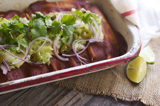 Grain-free Veggie Enchiladas with Roasted Hatch Chile Cashew Cream