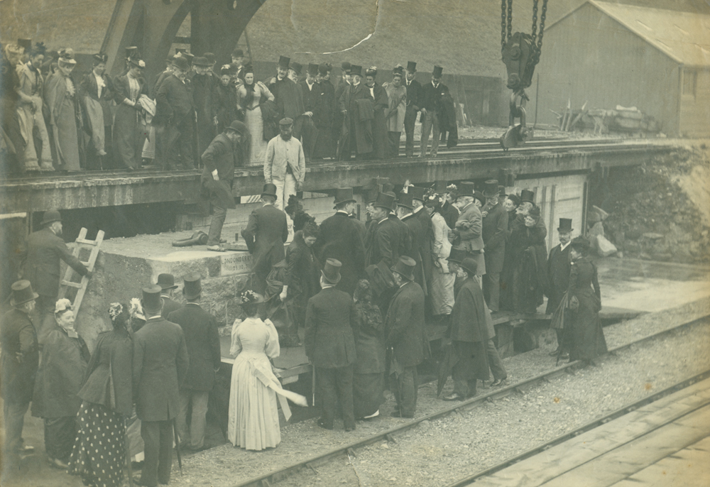 Visit of the Marquis of Londonderry to Roker Pier works, 1891