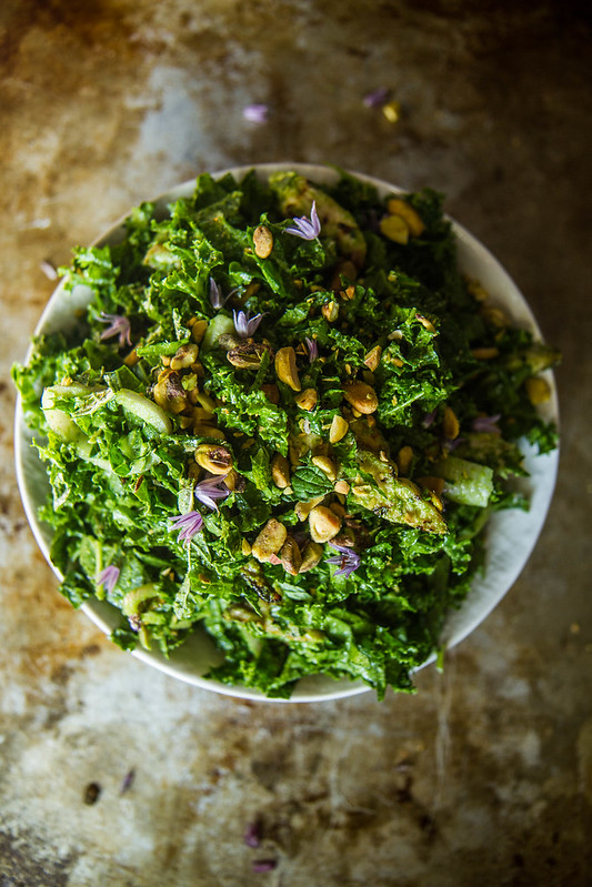 Parsley Pesto Kale and Mint Salad with Grilled Chicken and Pistachios
