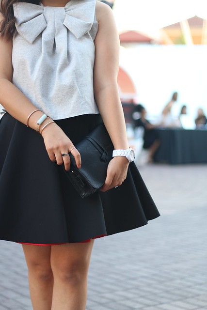 simplyxclassic, grey bow top, black circle skirt, irvine, orange county, style week, ootd, mommy, fashion style blogger,