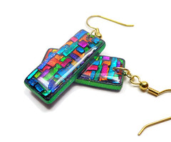polymer clay Mosaic Faux Dichroic earrings