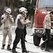 Die Männer des Zivilschutzes unterwegs zu einem Einsatz