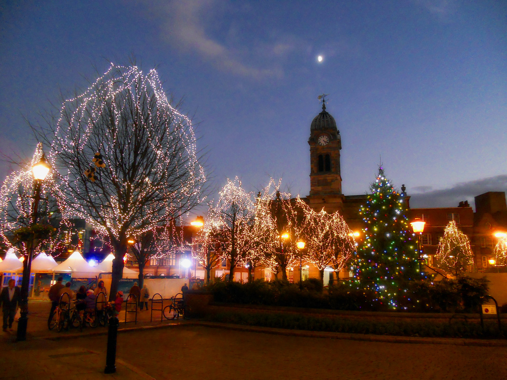 Christmas market in Derby, England. Credit DncnH