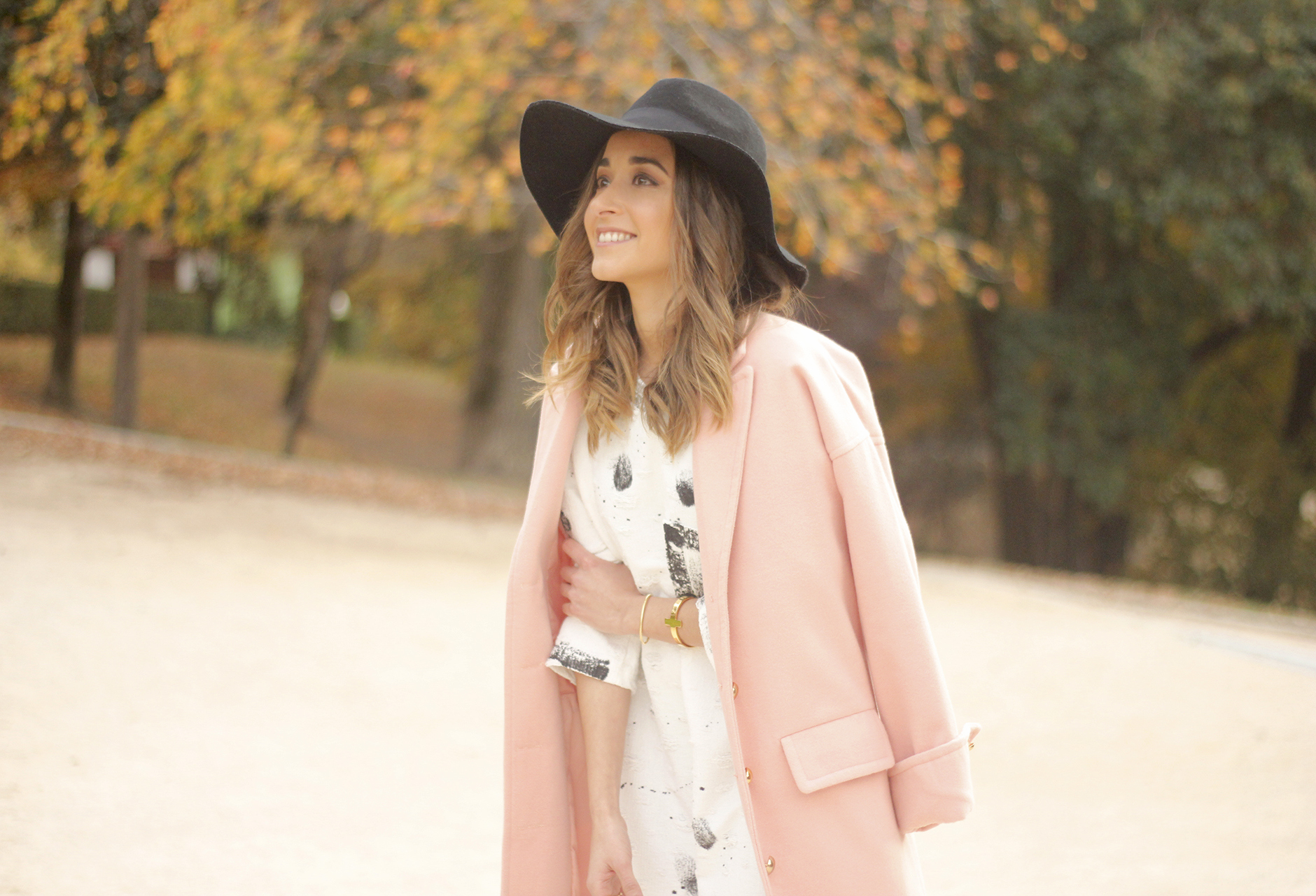 Black and White Dress Pink Coat Black Hat outfit style over the knees boots25