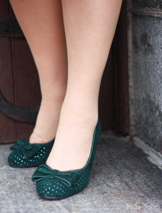 Miss L Fire Gabrielle suede and rhinestone pumps in green from Royal Vintage Shoes