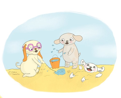 Three Illustrated dog characters playing in the sand on a beach