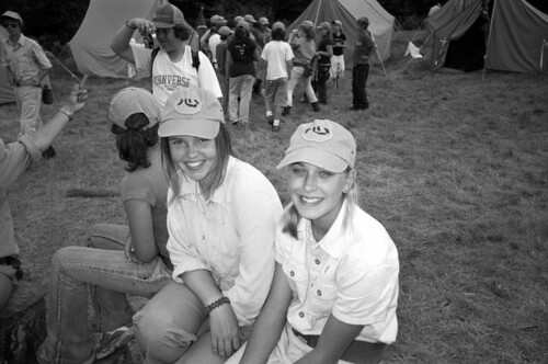 Jeana Mustain and Hasta in uniform at Sun Camp. Trungpa Rinpoche's calligraphy of the character xin (meaning heart-mind) is on our hats. Image courtesy of the author