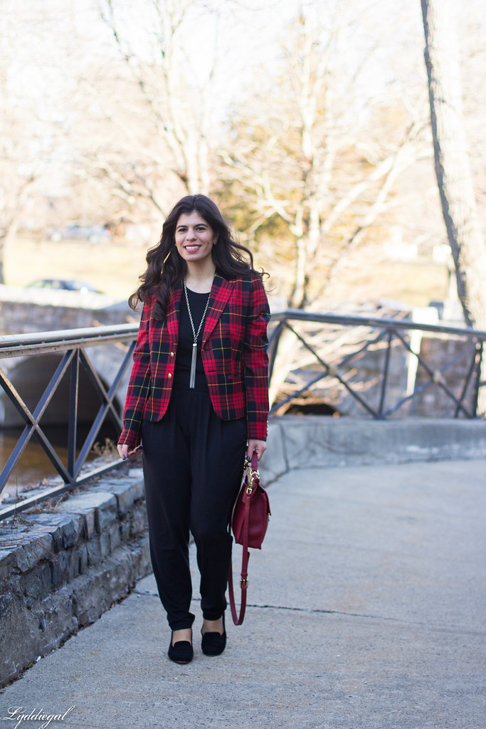 faux jumpsuit, red plaid blazer, red coach bag.jpg