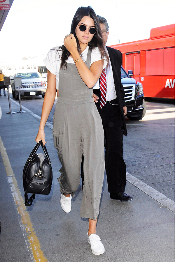 Kendall Jenner wide-leg overalls LAX