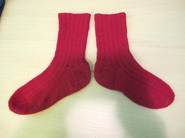 Handknit red socks
