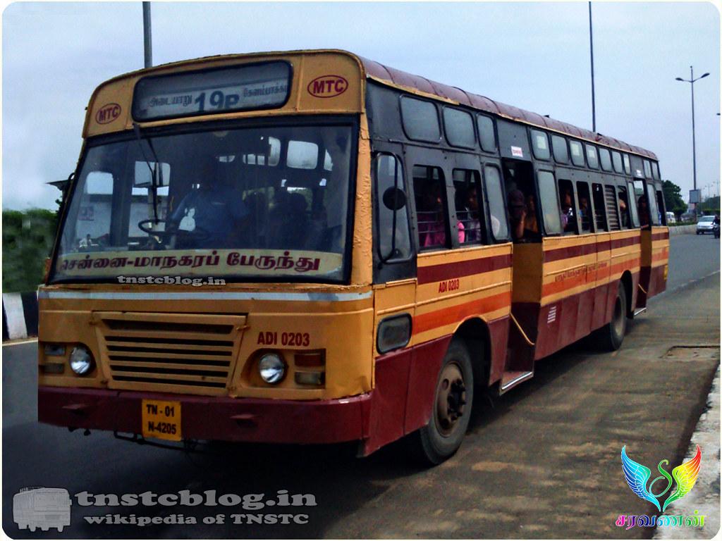 TN-01N-4205 ADI 0203 of Adyar Depot Route 19P Adyar - Kelambakkam