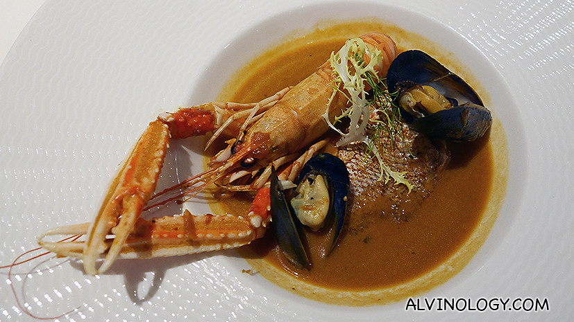 Seafood Bouillabaisse (S$28) - Red Malabar Snapper, Whole Langoustine, Blue Mussel in Bouillabaisse Broth