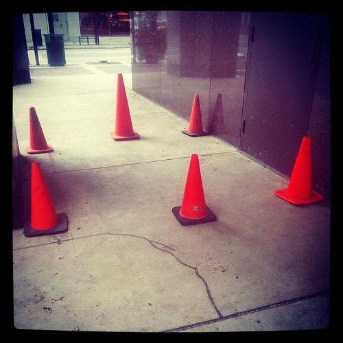 Orange cone party on Sycamore Street.