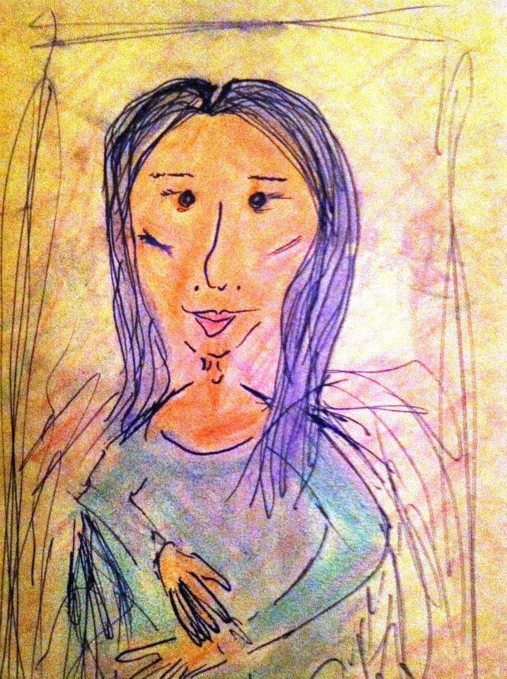 cartoon drawing of the Mona Lisa from Mona Lisa's restaurant in the French Quarter of New Orleans