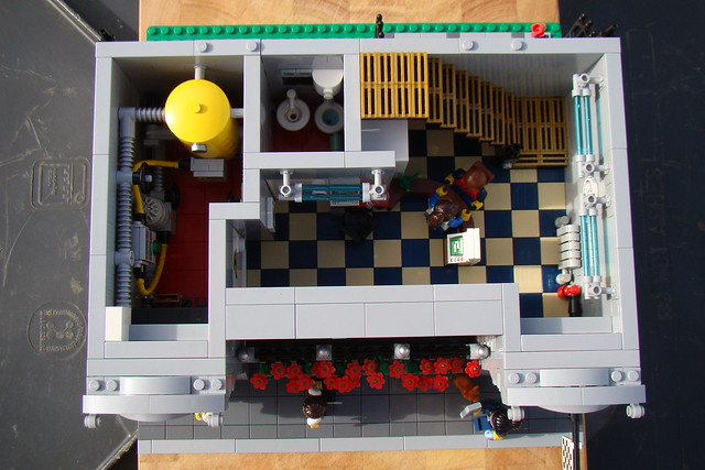 Overview of the first level. This floor has the reception, toilet and plant room. (Not flowers. They're out the front)