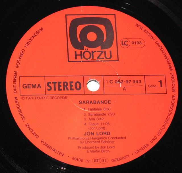 "Jon Lord Sarabande Hörzu die-cut Sexy cover 12"" VInyl LP"