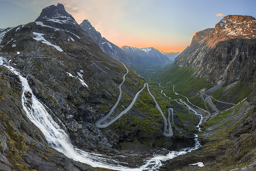 road sunset mountains norway canon norge waterfall rauma trollstigen nationalroad åndalsnes