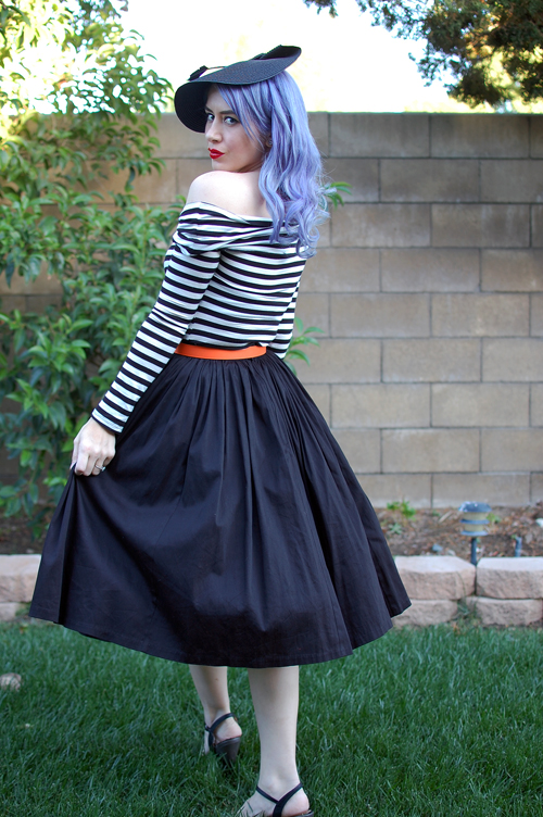 Pinup Girl Clothing Pinup Couture Jenny Skirt in Black Sateen