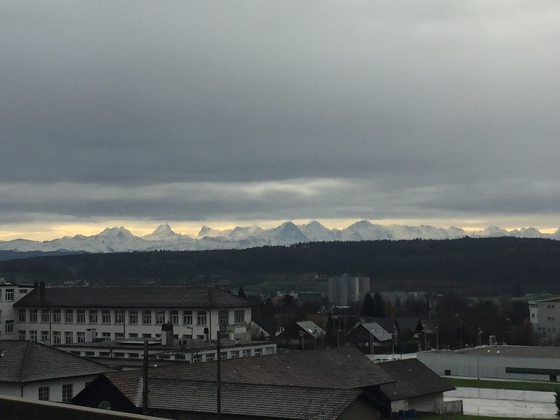 Alps from supermarket in Langendorf