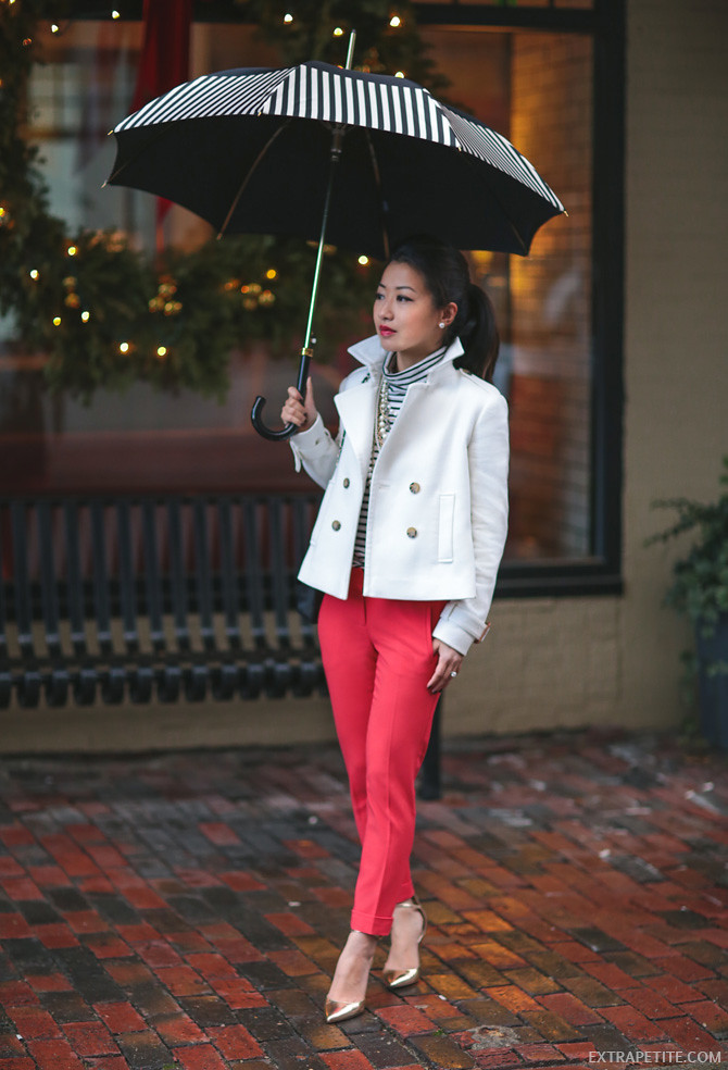 petite white trench red pants office work outfit