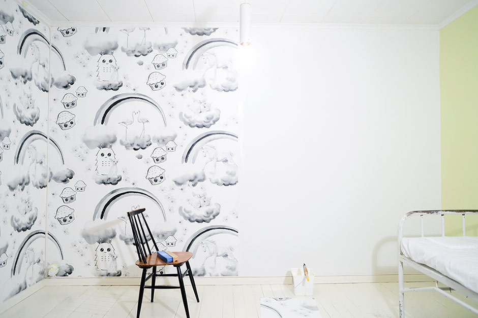 Wallpapering work in progress - Wallpaper designed by Jutta Rikola