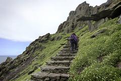 climbing the  steep steps