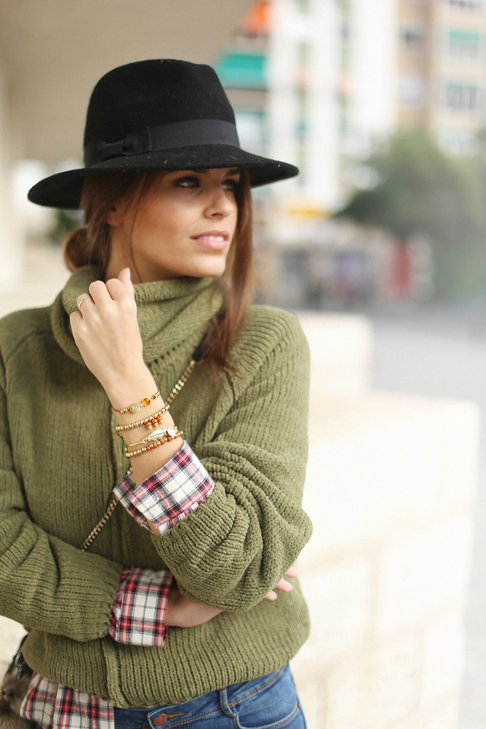 green turtleneck sweater fringed booties plaid shirt jessie chanes 8