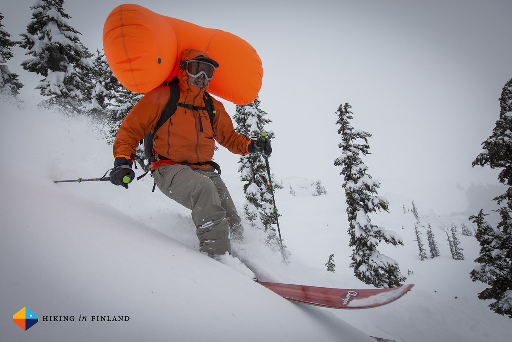 Arc'teryx Designer Gord Rose skiing with his creation, the Voltair Avalanche Airbag