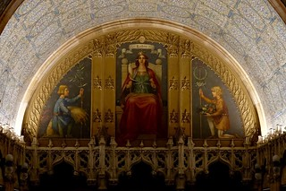 Image of Woolworth Building. art mural labor allegory woolworth building manhattan nyc painting personification 1913 triptych