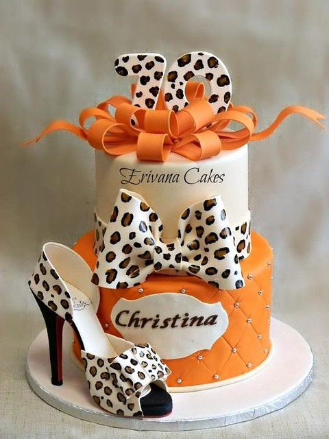 Leopard Skin Cake with Edible Shoe by Erivana